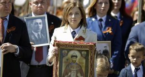 Наталия Поклонская с иконой Царя-Мученика. Фото: AFP